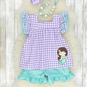 Purple/teal checkered mermaid outfit